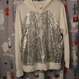 New women jacket white with silver